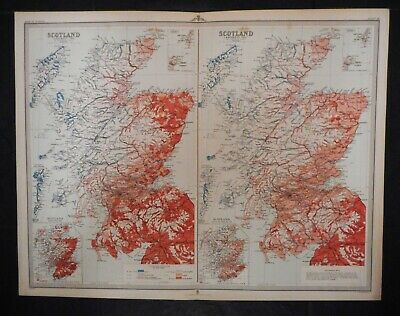 Antique Map Of Scotland - Showing Distribution Of Languages 1881 - 1891.    1895