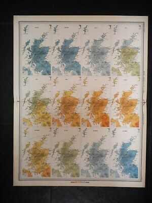 ANTIQUE MAP OF SCOTLAND -  1895. MONTH by MONTH AVERAGE TEMPERATURE. BUCHAN