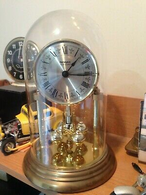 Vintage WEST GERMANY Remington GLASS DOME ANNIVERSARY QUARTZ CLOCK WORKING