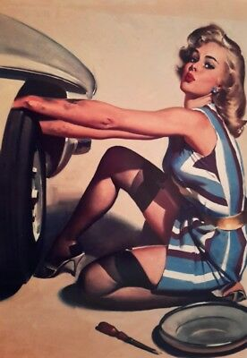 "VINTAGE PIN UP GIRL CHANGING WHEEL 7x5"" PICTURE PRINT WALL ART"