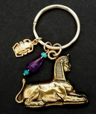 Sphinx / Antique Gold tone Key Chain  &  Gen.Stones / Scarab Charm