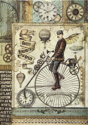Rice Paper for Decoupage Scrapbook Craft Sheet Retro Bicycle
