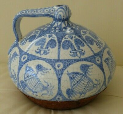 Impressive Antique Blue & White Hand Painted Crackled Pottery and Leather Vessel