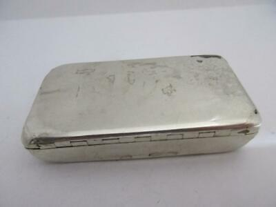 antique victorian 1848 hallmarked sterling silver snuff box 6.5 x 3.5  k106