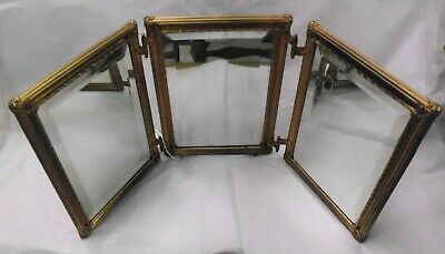 """Antique Tri Fold Beveled Mirror with Bronze Frame Each Panel is 7 1/4 x 10 1/4"""""""
