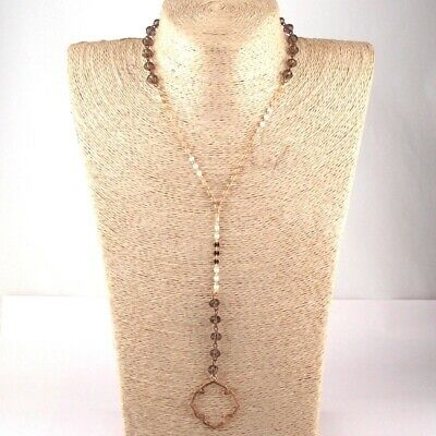 Fashion Women Of Life Boutique Bohemian Crystal And Flat Chain Ethnic Necklace