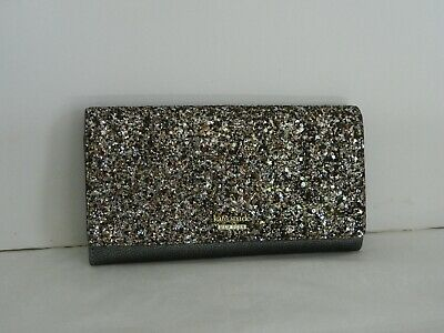 Nwt Kate Spade New York Laurel Way Gunmetal Glitter Milou Clutch/wallet Wlru5186