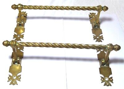 Pair Antique Gothic Style Arts&crafts Brass Folding Towel Rails/door Pull Handle