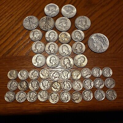 10 dollar face value. US silver pre-65. Peace dollar, franklins, walking liberty