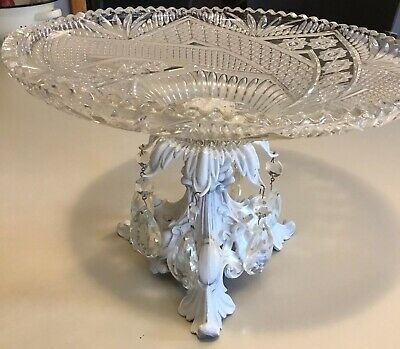 Monarch Crystal Made In Germany Vintage Crystal Fruit Plate And Stand White Base
