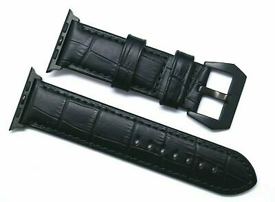 Black Alligator Grain Leather Watch Band For Apple iWatch 42mm 44mm Series 4 3 2