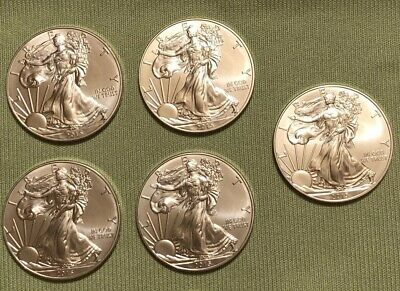 2015 ~ LOT of 5 ~ 1 oz American Silver Eagle *** BU .999 *** US Mint