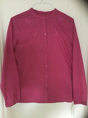 Pendleton Women's Embroidered Magenta Cotton Tunic, Large - New w/Tags