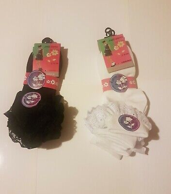 Girls children 3 pairs black white lace socks frilly ANKLE LACE SOCKS