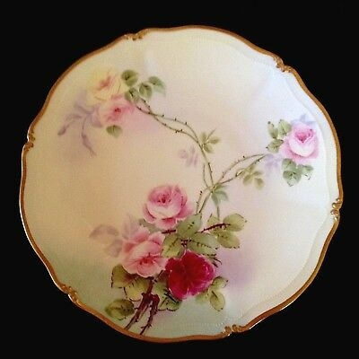 """T&V LIMOGES France Patent Applied For 8-1/2""""d HP PLATE Pink Roses Signed Reynaud"""