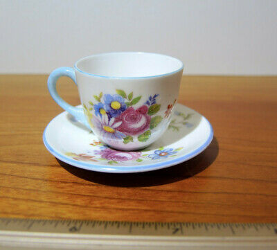 Shelley England Floral Bouquet Miniature Cup and Saucer #13865 MINT