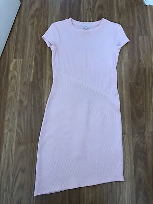 River Island. Size 8. Pale Pink Ribbed Stretch Maternity Dress.