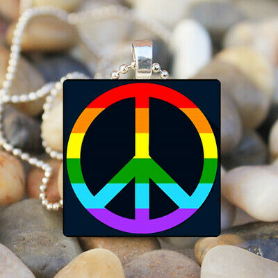 Peace accord Gay Pride Rainbow Flag Vintage Necklace Pendant Jewelry Charm Gift