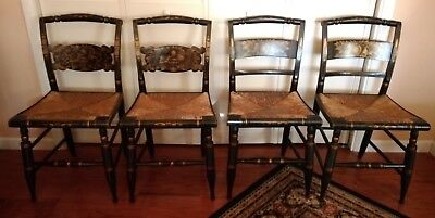 Authentic Antique Hitchcock Rush Bottom Black Harvest Chairs-Set of 4