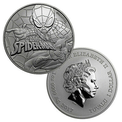 2017 $1 Tuvalu 1 oz .999 Silver Marvel Series Spiderman™ BU