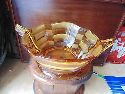RARE LARGE  STUNNING 1920s / 30s ART DECO DEEP HEAVY AMBER PRESSED GLASS BOWL