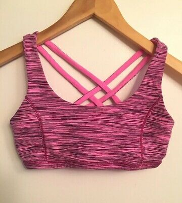 Ivivva - Girls Lululemon Complete Focus Strappy Reversible Sports Bra Pink Sz 12