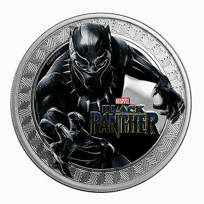 2018 $1 Tuvalu 1 oz .999 Silver Black Panther Colorized Proof with Holder