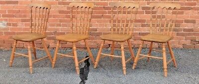 Antique Set of 4  SHAKER CHAIRS 'Plank' Bottoms