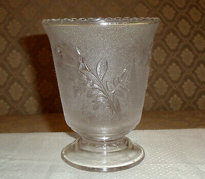 EAPG Rose In Snow Spooner Open Sugar Clear Bryce US Glass 1880's - 1890s