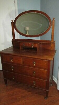 Antique 1909 Vintage Dresser With Mirror Chest Of Drawers 4