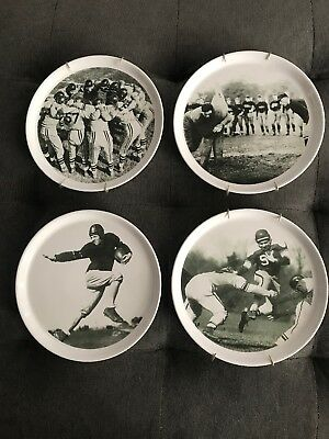 POTTERY BARN, Football 9 1/8 inch Snack Plates, Set of 4