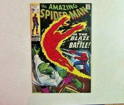 Amazing Spider-Man # 77 - Silver Age Marvel Comic - 1960s - Battles Human Torch