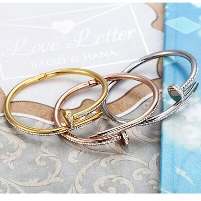 Cuff Bangle Bracelets For Women Stainless Steel Nail arm Bracelet Gold Silver