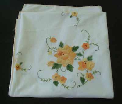 Vintage Square Tablecloth, Appliqued yellow roses and embroidery