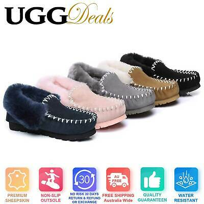 UGG AUSTRALIAN SHEPHERD™ POPO MOCCASIN Sheepskin Slippers Double Sole Non-Slip