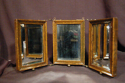 Antique Tri-Fold Oak Mirror Vanity Stand or Hang Up w/ Tooled Leather Backs