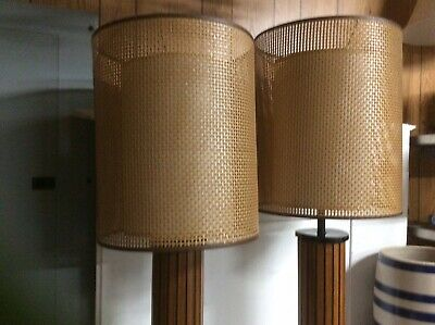 Pair Mid Century Hans Wenger Lamps Double Shade