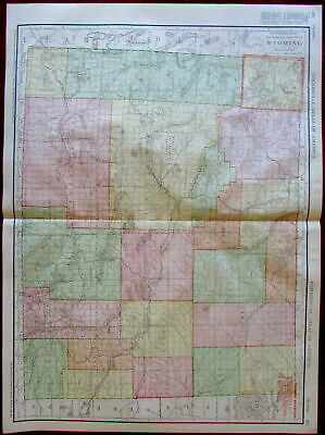 Wyoming state by itself c.1913 huge Rand McNally detailed map