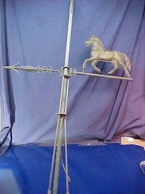 19thc COPPER LIGHTNING ROD w HORSE Weather Vane DIRECTIONAL ARROW