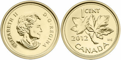 2012 CANADA 99.99% pure gold farewell to penny 1/25 oz.