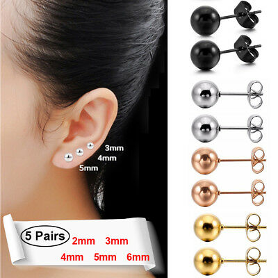 5 Pairs Round Solid Gothic Ball Bead Stainless Steel Men Women Ear Stud Earrings