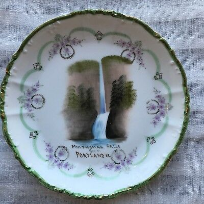 Multnomah Falls Collector's Plate. Vtg Imperial Crown Austria. Hand Painted.