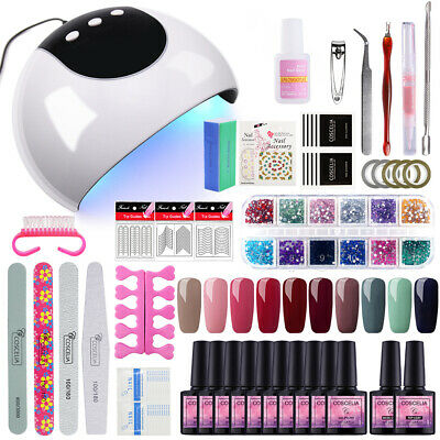 10/6 Color Soak Off Gel Polish Kit 24W LED UV Curing Lamp Manicure Nail Tool Set