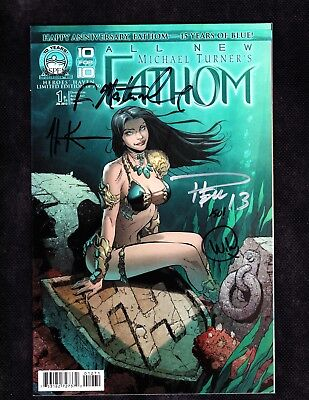 Micheal Turners Fathom #1 Heros Haven Variant Limited To 750 Signed X4 W/cert.
