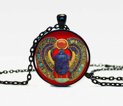 Vintage Egyptian Scarab Photo Cabochon Glass Black Chain Pendant Necklace