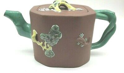 Vtg Antique Chinese Yixing Tea Pot W  Painted Enamel Twisted Green Spout Signed