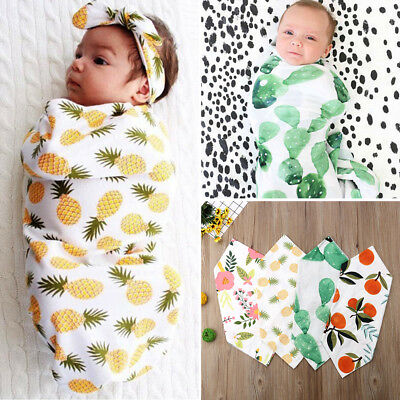 USA Newborn Baby Boy Swaddle Floral Blanket Girl Coming Home Cotton Bath Towel