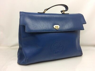 Auth FENDI Leather Hand Bag Blue 7J180640m*