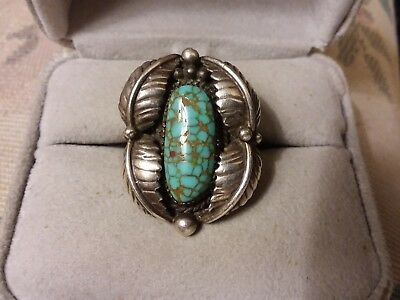 Antique Navajo Gem Grade Number Eight 8 Turquoise Sterling Silver Ring Size 9