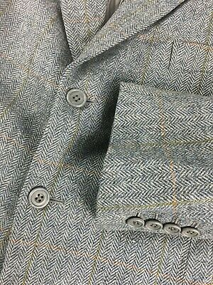 a3732a768d5 vintage Bailey   Hughes Savile Row Tweed Herringbone Checked Sport Coat 42  Gray